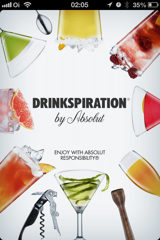Tela de abertura do app absolut drinkspiration