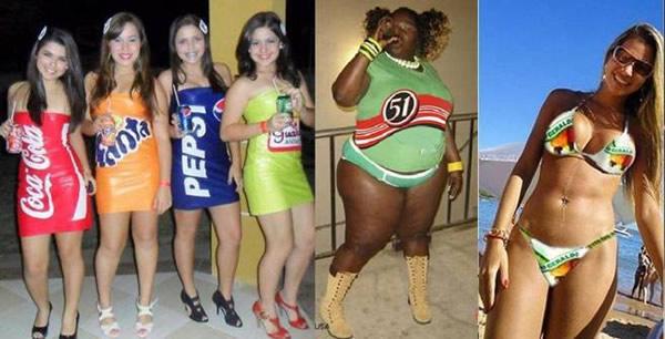 Mulheres fantasiadas de bebidas
