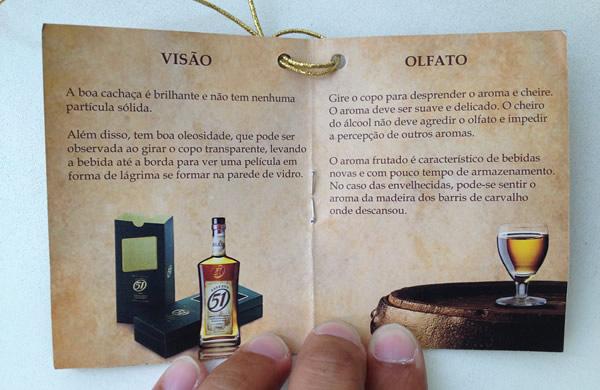Panfleto da cachaça Reserva 51 falando sobre os sentidos