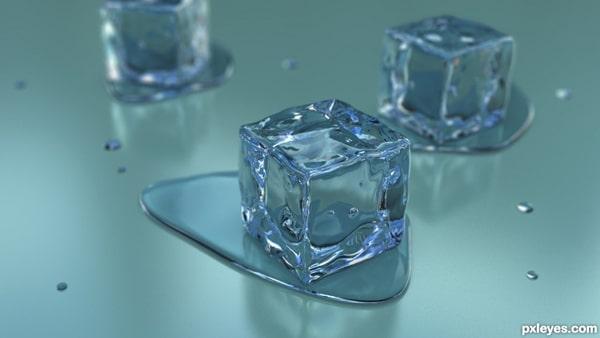 cubos de gelo em 3d