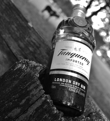 Garrafa do Gin Tanqueray em P&B