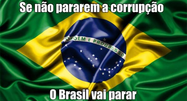 bandeira do brasil com protestos