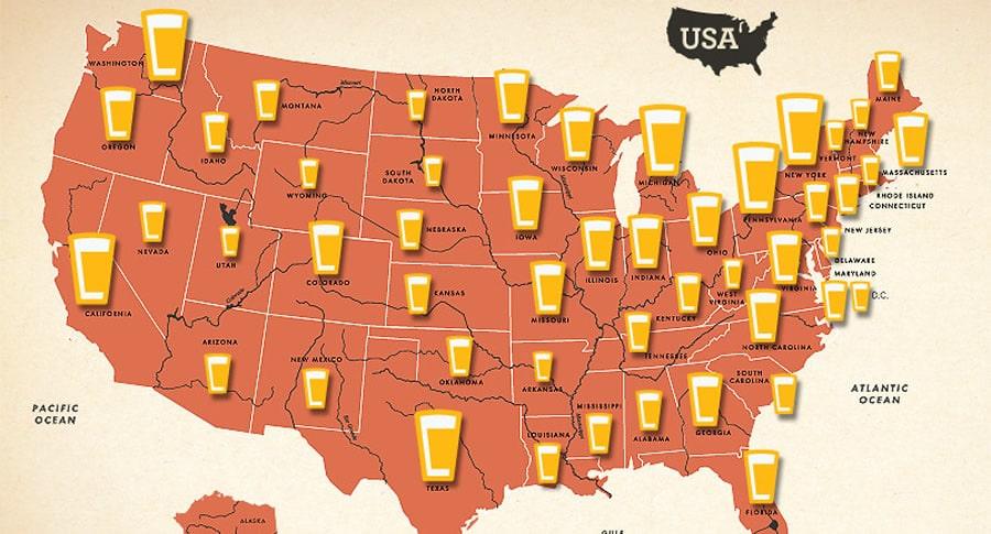 Mapa cervejeiro dos EUA
