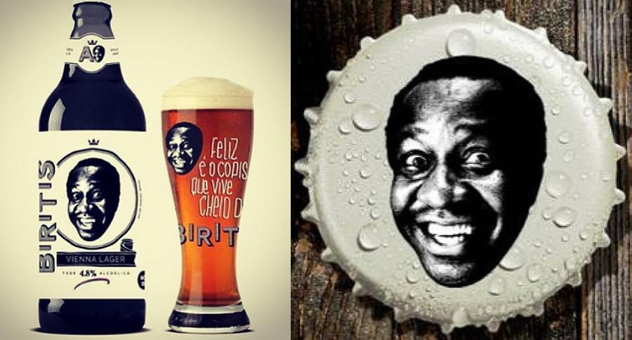 Garrafa, copo e tampinha da cerveja Biritis