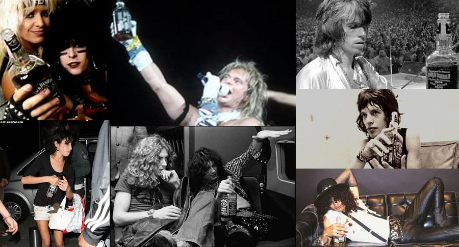Rockeiros que bebem Jack Daniel's