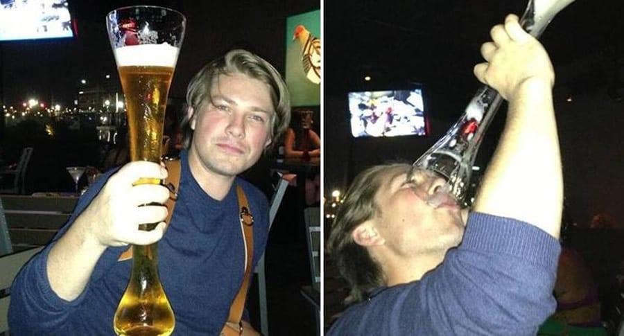 Taylor bebendo cerveja