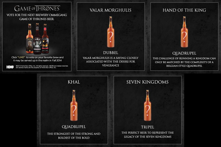 Garrafas de cerveja do Game of Thrones