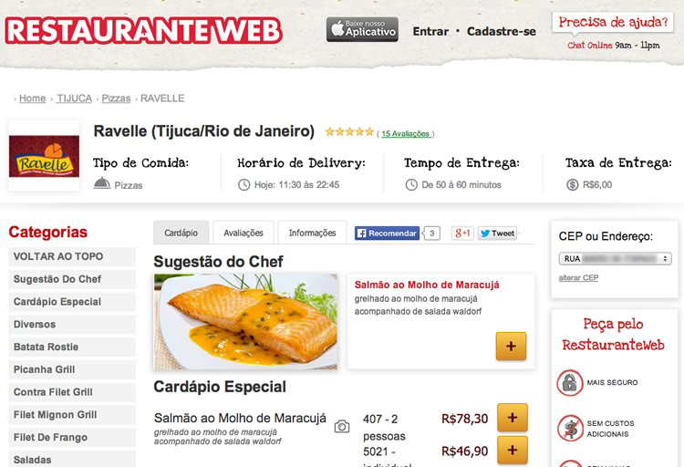Print do RestauranteWeb