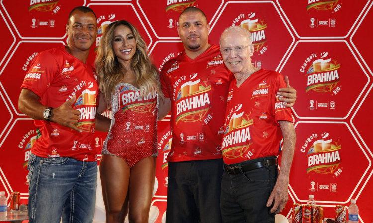 Sabrina Sato, Cafu, Ronaldo e Zagalo, embaixadores do Camarote da Brahma 2014