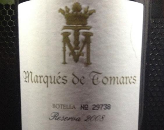 Garrafa do vinho Marques de Tomares