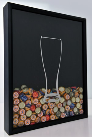 Quadro tulipa do Beer Cap Collector Shadow Box