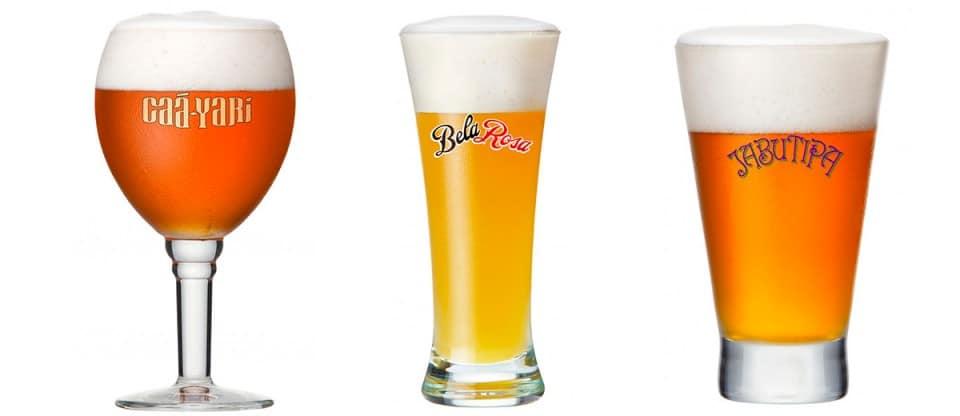 Copos das novas cervejas da Bohemia