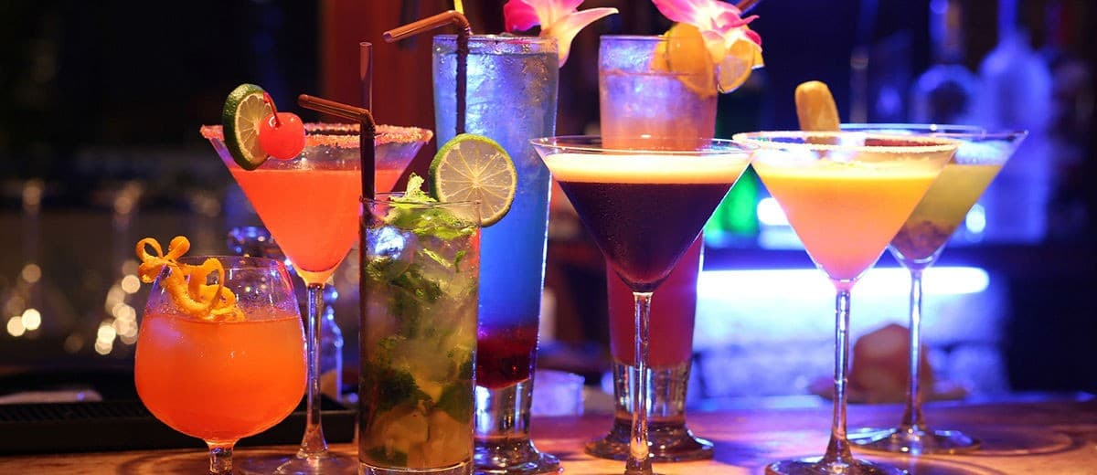 Mixed drinks to order at a casino
