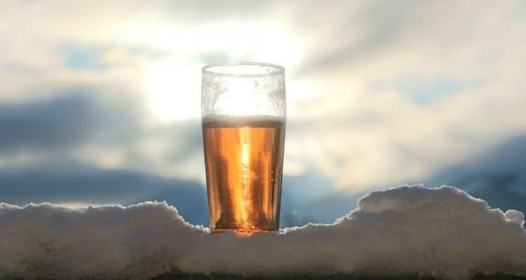 cerveja por do sol