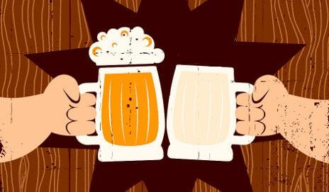 brinde com cerveja e leite