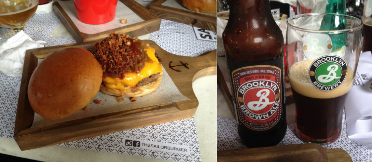 Brooklyn Brown Ale e hambúrguer do Sailor Burger Beers