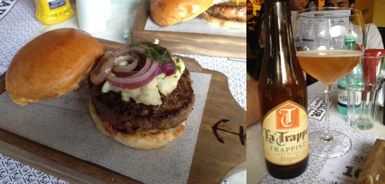 la trappe e hambúrguer do Sailor Burger Beers