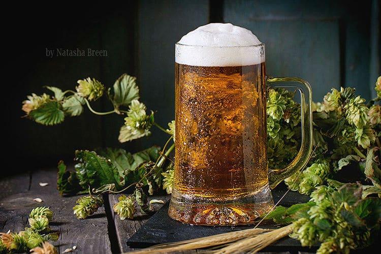 caneca de cerveja com lúpulo ao fundo