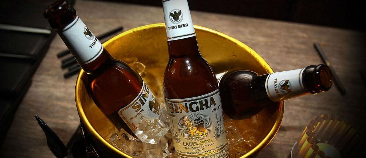 Cerveja SinghaBeer balde
