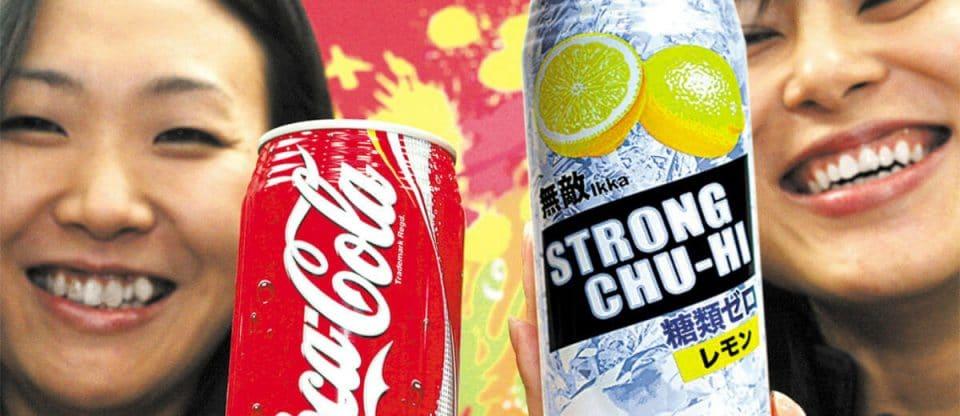 chu hi, bebida alcoólica da coca cola