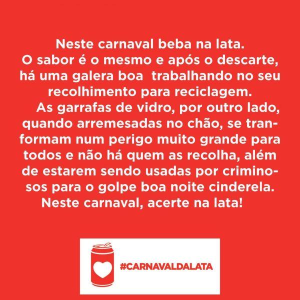 Carnaval da lata mensagem